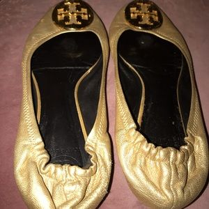 Tory Burch gold flats size 8